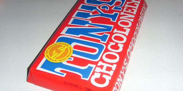 Tony's chocolonely reep melkchocolade rode wikkel