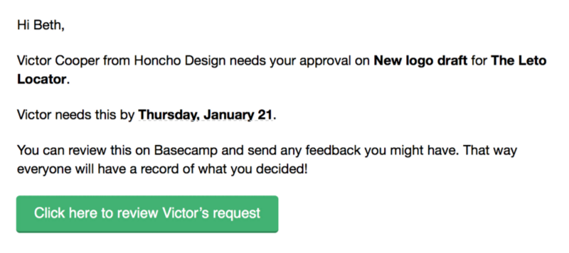 Voorbeeld van Basecamp e-mail voor het akkoord krijgen van een klant